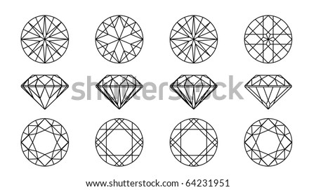 Collection round shapes of a gemstone against white background. Wireframe - stock vector