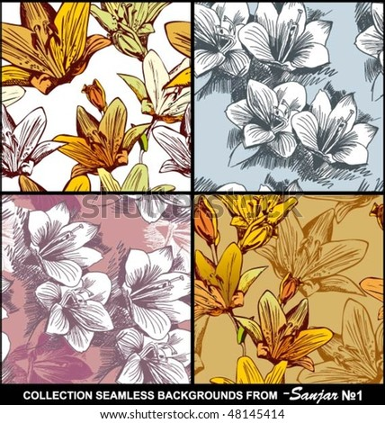 Collection seamless backgrounds - stock vector