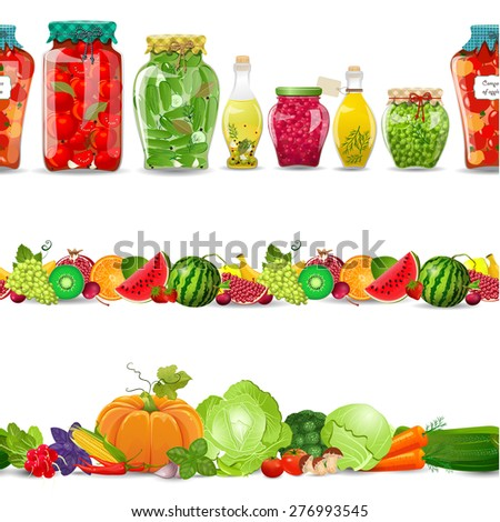 collection seamless borders with preserve food, vegetables, fruits on white background - stock vector