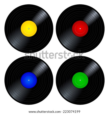 Collection, set, group of four old-fashioned black plastic music vinyl record with blue, green, red and yellow blank label. 45 rpm retro lp, vector art image illustration, isolated on white background - stock vector