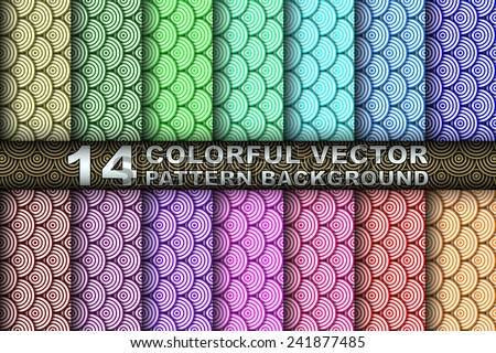 Collection Set of 14 Different Colored Vector Seamless Asian Wave Pattern - stock vector