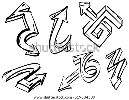 Collection set of different three-dimensional graffiti arrows marker drawn
