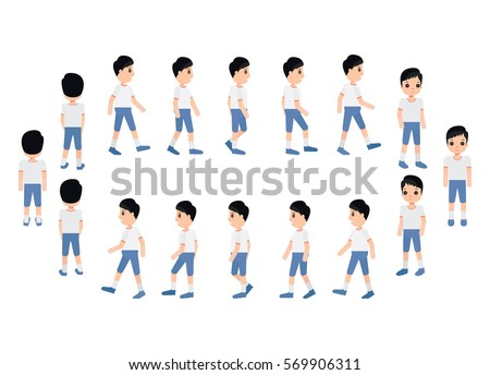 Collection Set Walking Boy Sprite Frame Stock Vector (2018 ...