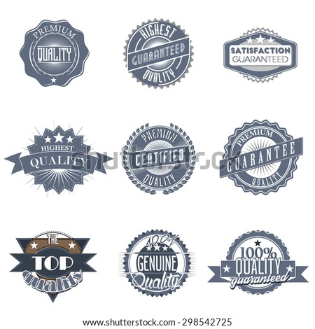 Collection (set, pack, compilation) of premium quality, high quality, top quality labels and guaranteed badges in vintage retro style, vector illustration - stock vector