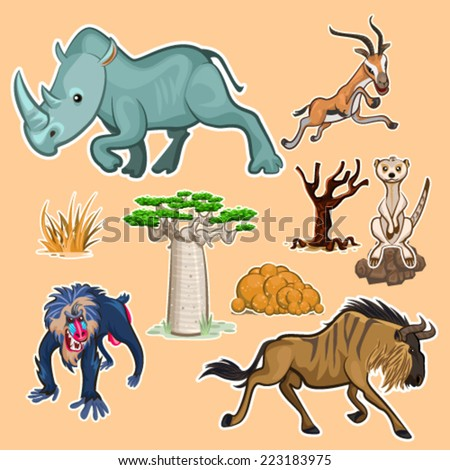 Collection Sets of African Animals and Tree including rhinoceros mandrill baboon gazelle meerkat wildebeest baobab and African trees - stock vector