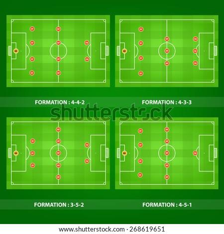 Collection soccer field vector. - stock vector