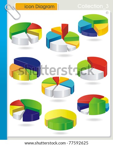 COLLECTION_3 Vector business graph set - colorful circular Pie diagram on white background. Abstract industry web symbols. - stock vector