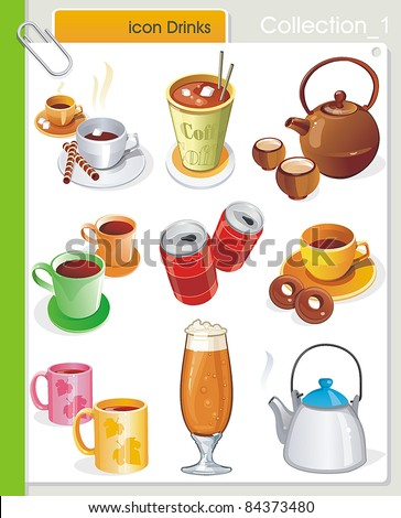 COLLECTION_1 Vector Drink Icons. Abstract web symbols. - stock vector