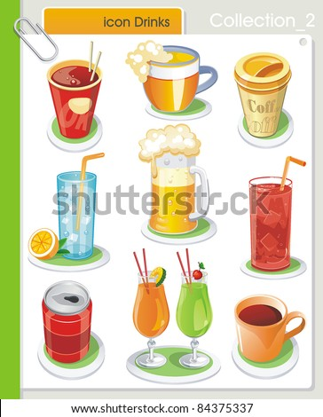 COLLECTION_2 Vector Drink Icons. Abstract web symbols. - stock vector