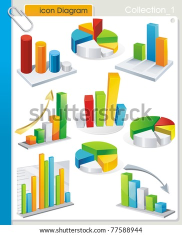 COLLECTION_1 Vector graphic collection of stylized icons from colorful diagrams. Set of abstract business and industry web symbols. - stock vector