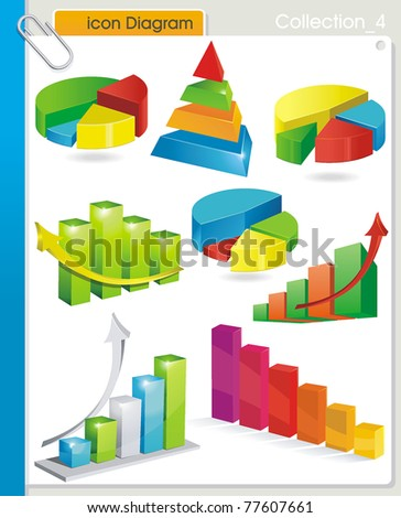 COLLECTION_4 Vector graphic glossy diagram and pie charts on white background. Set of abstract business and industry web symbols. - stock vector