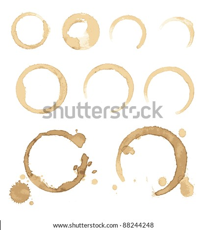 Collection vector stains of coffee for grunge design - stock vector