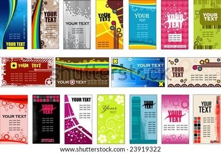 Collection vertical and horizontal business cards templates (vector) - stock vector
