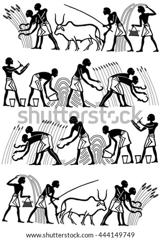 Collection vintage background in the Egyptian style. People in the field they reap and sow wheat on a white background. - stock vector