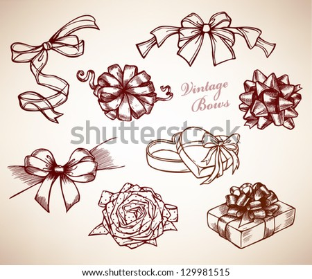 Collection vintage bows, hand drawn set, vector illustration - stock vector