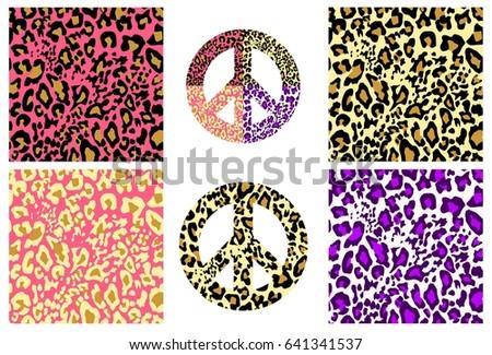 Collection Wallpaper Hippie Peace Symbol Leopard Stock Photo Photo