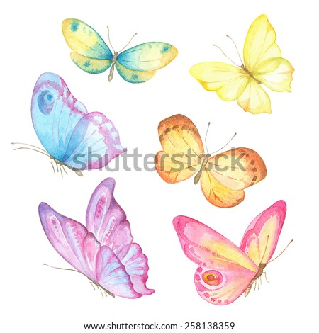 Collection watercolor of flying butterflies. - stock vector
