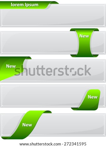 Collection web button with green ribbon. Vector illustration - stock vector
