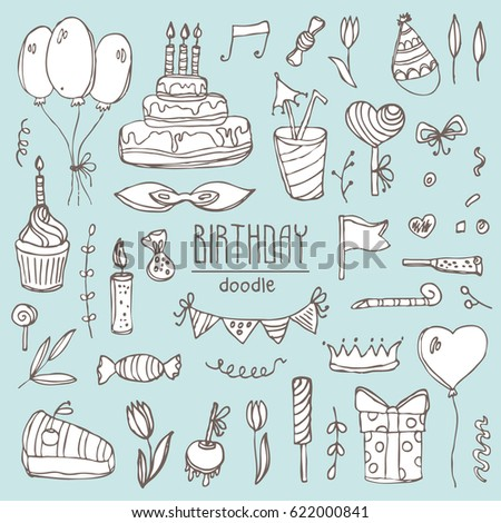 Collection Birthday Elements Symbols Birthday Cake Stock Vector
