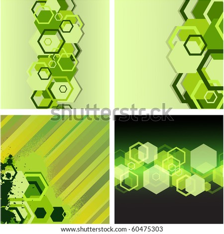Collection with hexagons. Vector illustration - stock vector