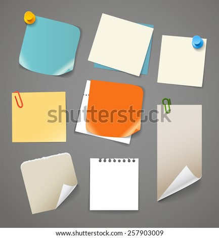 Collectionn of paper stickers. Template for a text - stock vector