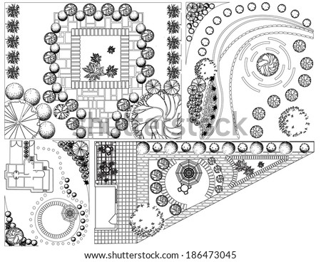 Collections od  Landscape Plan with treetop symbols black and white - stock vector