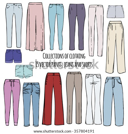 Different types women trousers pants line stock vector for Types of denim shirts