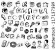 Collections of Doodled Internet Icons - stock photo