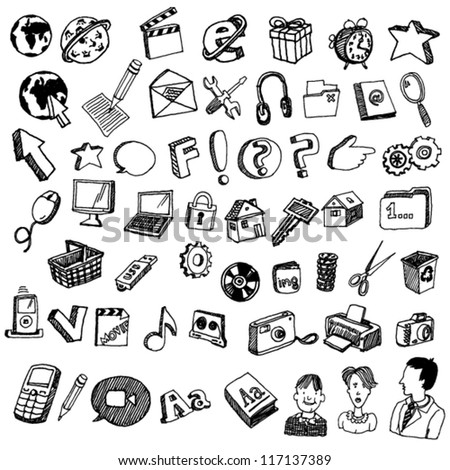 Collections of Doodled Internet Icons - stock vector