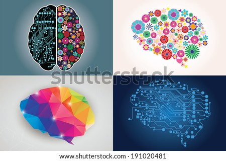 Collections of four different human brains, left and right side, creativity and logic, illustration - stock vector