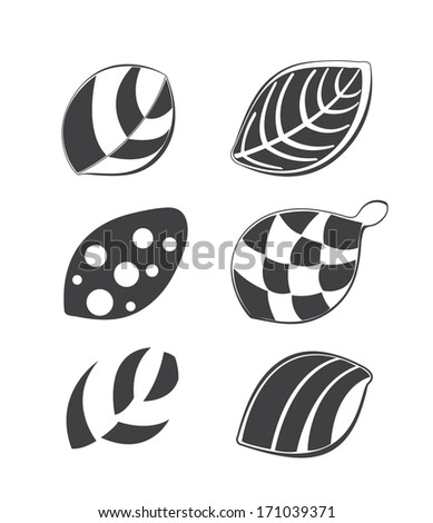 Collections of leaf design elements, useful for various projects  - stock vector