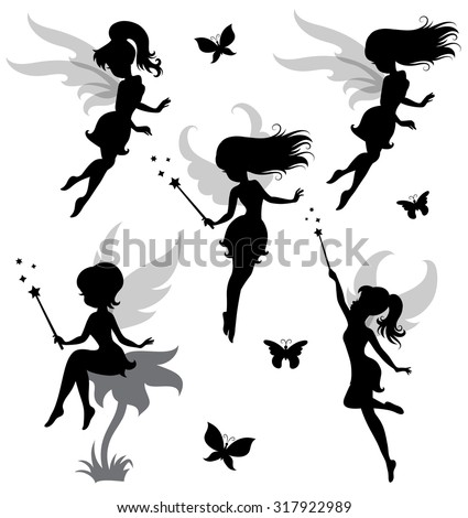 Collections of vector silhouettes of a fairy. - stock vector