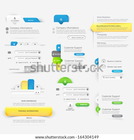 Collections of website template navigation elements with icons - stock vector