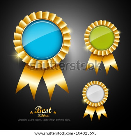 Collections ribbons award, vector illustration - stock vector
