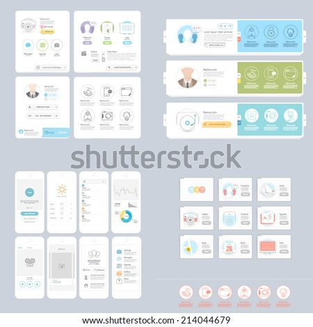 Collections: Set of colorful and responsive UI elements for website and print templates - stock vector