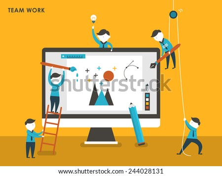 collective creation concept in flat design style - stock vector