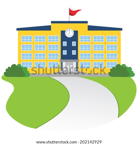College. An educational institution or University School. - stock vector