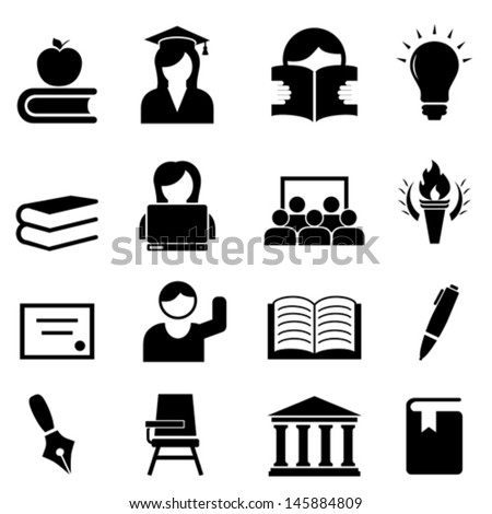 College and higher education icon set - stock vector