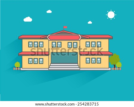 College building, illustration vector - stock vector