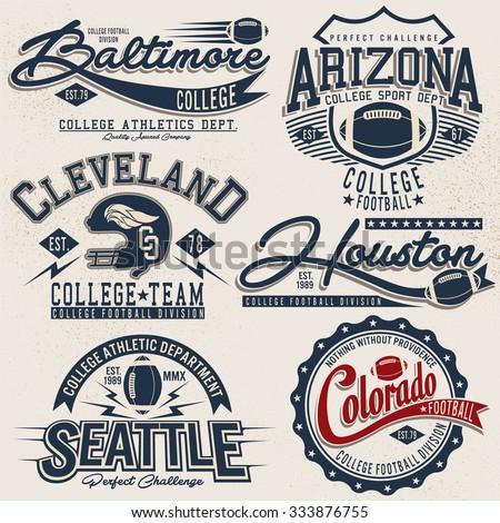 American Football Fantasy League Labels Emblems Stock