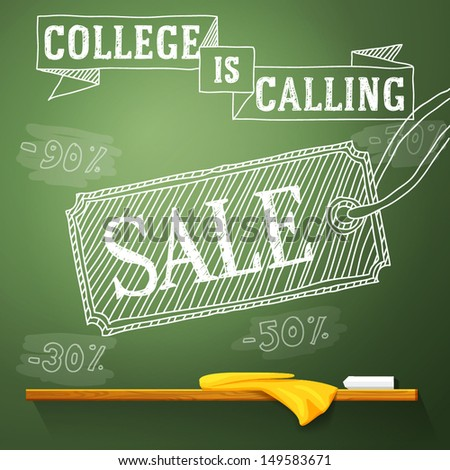 College is calling sale on the chalkboard with different sale percents. Vector - stock vector
