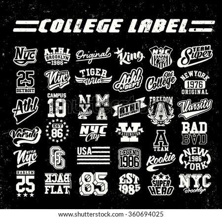 college label set. Vintage tee print - stock vector