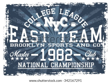 College League NYC vector print and varsity. For t-shirt or other uses in vector.