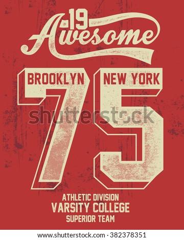 College New York typography, t-shirt graphics. - stock vector