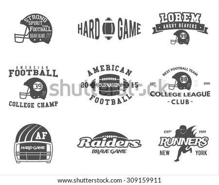 College rugby and american football team, camp badges, logos, labels, insignias in retro style. Graphic vintage design for t-shirt, web. Monochrome print isolated on a white background. Vector. - stock vector