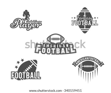College rugby and American football team, college badges, logos, labels, insignias set in retro style. Graphic vintage design for t-shirt, web. Monochrome print isolated on a white background. Vector.