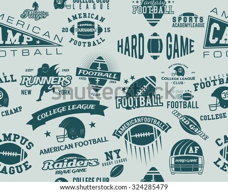 College rugby and american football team seamless pattern in retro style. Graphic vintage design for league tournaments, t-shirt, websites. Sports print on a blue background. Vector illustration - stock vector