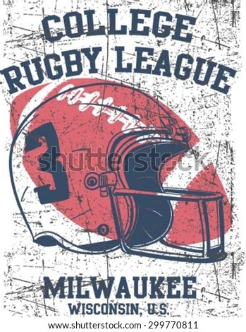 College rugby team badge in retro style. Graphic design for t-shirt. White print on a dark background - stock vector