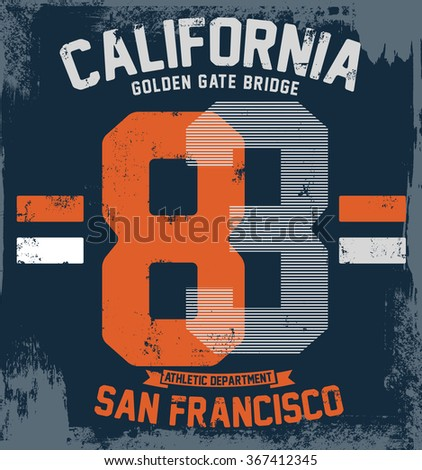 College San Francisco typography, vector illustration - stock vector