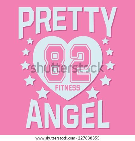 College sport girl typography, t-shirt graphics, vectors - stock vector